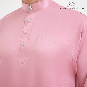 Baju Melayu Satin Classic Fit Prawn Pink