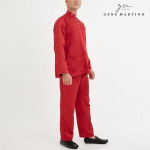 Baju Melayu Satin Classic Fit Scarlet Red