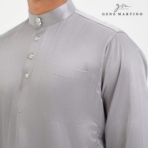 Baju Melayu Satin Classic Fit Silver