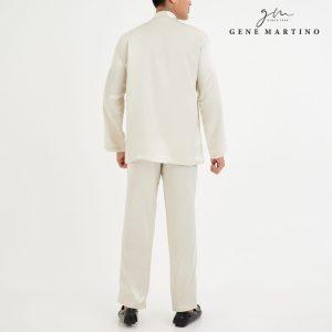 Baju Melayu Satin Classic Fit Smoke White