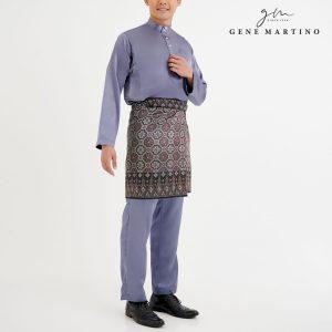Baju Melayu Satin Classic Fit Solid Grey