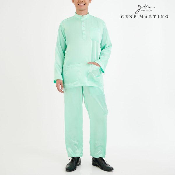 Baju Melayu Satin Classic Fit Tea GreenBaju Melayu Satin Classic Fit Tea Green