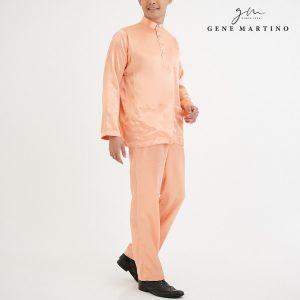 Baju Melayu Satin Classic Fit Vivid TangerineFit Pale Cream 40-1