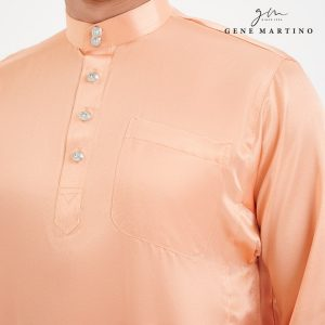 Baju Melayu Satin Classic Fit Vivid Tangerine