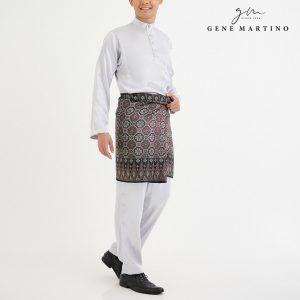 Baju Melayu Satin Classic Fit White Silver