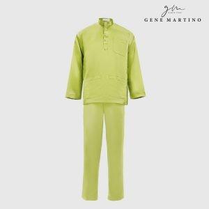 Baju Melayu Satin Classic Fit Yellow Green