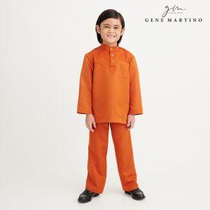 Gene Martino Aleef Baju Melayu Modern UA1020FA1 46 Orange Tangerine