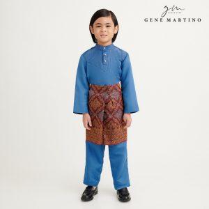 Gene Martino Aleef Baju Melayu Modern UA1020FA1 76 Steel Blue