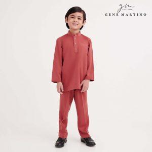 Gene Martino Shakir Baju Melayu Slim Fit KKA1065FA 45 Red Clay