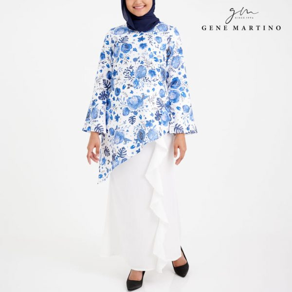 Elisabetta Kurung Modern Printed 899 Blue and White