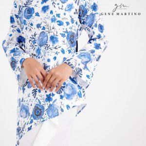 Elisabetta Kurung Modern Printed 899 Blue and White