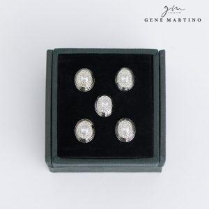 Gene Martino Ellipse Shape Button ADM1102 01 White