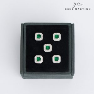 Gene Martino Octagon Shape Button ADM1103 85 Emerald Green