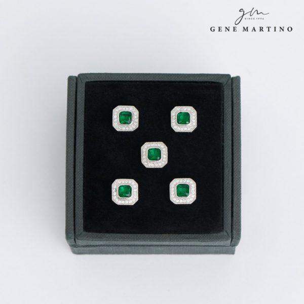 Gene Martino Octagon Shape Button ADM1103 85 Emerald Green