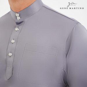 Baju Melayu Premium Dull Satin Classic Fit Dolphin Grey