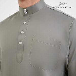 Baju Melayu Premium Dull Satin Classic Fit Seal Grey