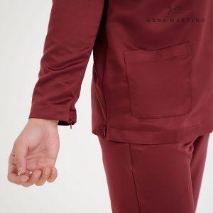 Baju Melayu Premium Dull Satin Slim Fit Maroon
