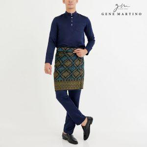 Baju Melayu Premium Dull Satin Slim Fit Navy