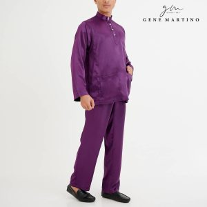 Baju Melayu Satin Classic Fit Dark Violet