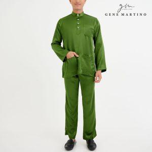 Baju Melayu Satin Classic Fit Basil Green