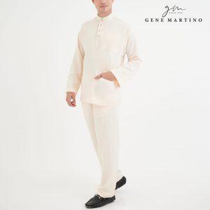 Baju Melayu Premium Dull Satin Classic Fit Linen Solid 6