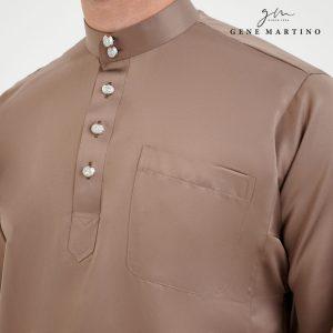 Baju Melayu Premium Dull Satin Classic Fit Mocha Beige