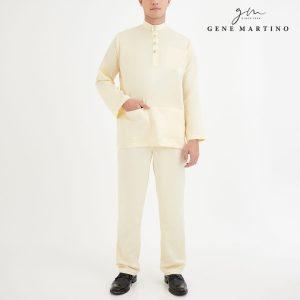 Baju Melayu Premium Dull Satin Classic Fit Creamy White