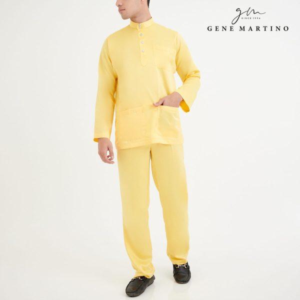 Baju Melayu Premium Dull Satin Classic Fit Lemon Twist