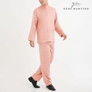 Baju Melayu Premium Dull Satin Classic Fit Bonny Peach