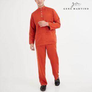 Baju Melayu Premium Dull Satin Classic Fit Dark Coral