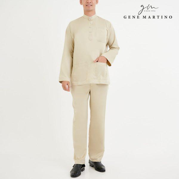 Baju Melayu Premium Dull Satin Classic Fit Vintage White