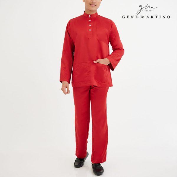 Baju Melayu Premium Dull Satin Classic Fit Scarlet Red