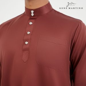 Baju Melayu Premium Dull Satin Classic Fit Sangria Red