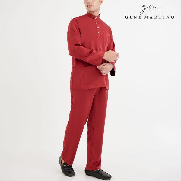 Baju Melayu Premium Dull Satin Classic Fit Barn Red