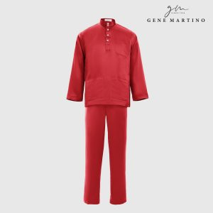 Baju Melayu Premium Dull Satin Classic Fit Sindoor Red