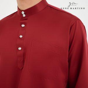 Baju Melayu Premium Dull Satin Classic Fit Vermilion Red