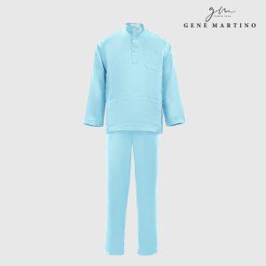 Baju Melayu Premium Dull Satin Classic Fit Sky Blue