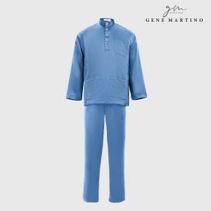 Baju Melayu Premium Dull Satin Classic Fit Carolina Blue