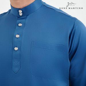 Baju Melayu Premium Dull Satin Classic Fit Sapphire Blue