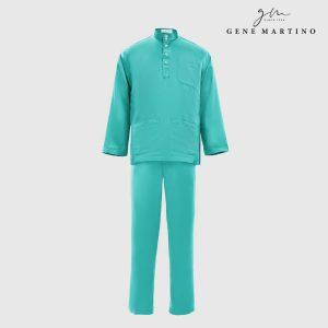 Baju Melayu Premium Dull Satin Classic Fit Turquoise Green