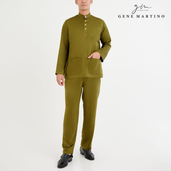 Baju Melayu Premium Dull Satin Classic Fit Olive Green