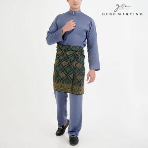 Baju Melayu Premium Dull Satin Classic Fit Blue Slate Grey
