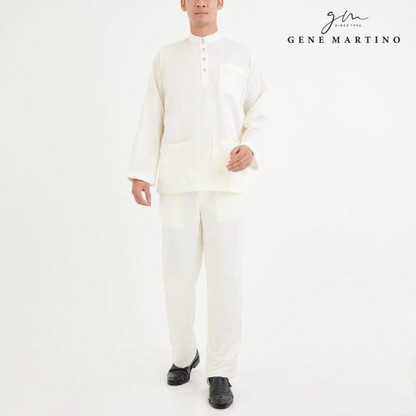 Baju Melayu Premium Dull Satin Classic Fit Silver White