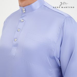 Baju Melayu Satin Classic Fit Periwinkle Purple