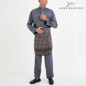 Baju Melayu Satin Classic Fit Lead Grey