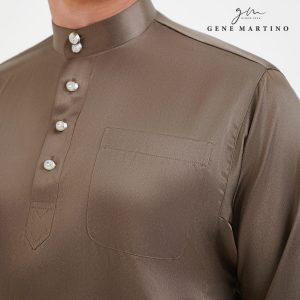 Baju Melayu Satin Classic Fit Bronze Grey