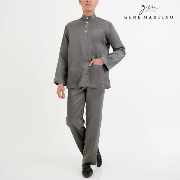 Baju Melayu Satin Classic Fit Flint Grey