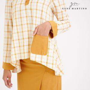 Gene Martino Abriana Checker Kurung Modern 3041 Mustard Yellow