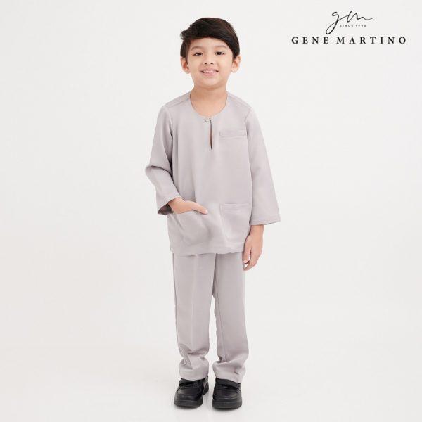 Gene Martino Khalid Baju Melayu Johor Modern Fit VA1078FA 95 Light Grey