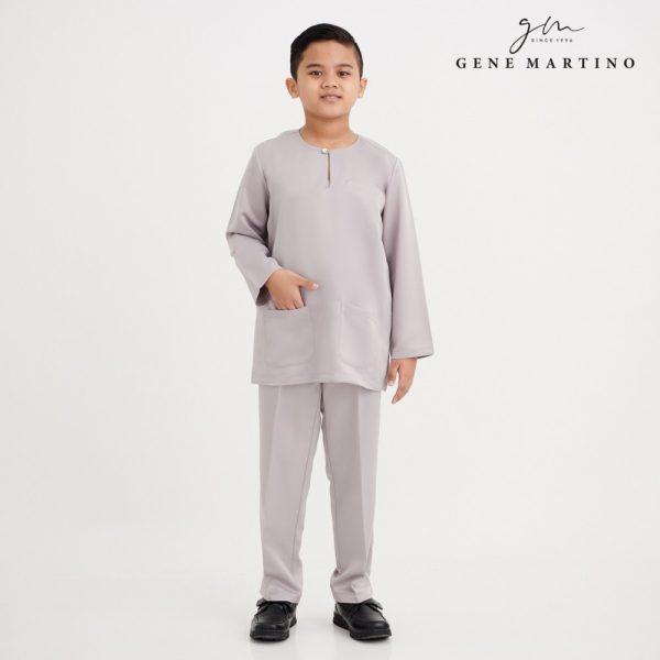 Gene Martino Khalid Baju Melayu Johor Modern Fit YA1078FA 95 Light Grey